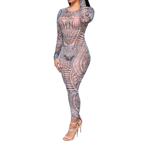 Online discount shop Australia - Adogirl Tribal Tattoo Print Mesh Sheer Jumpsuit Women Sexy See Through Backless Bodycon Long Rompers