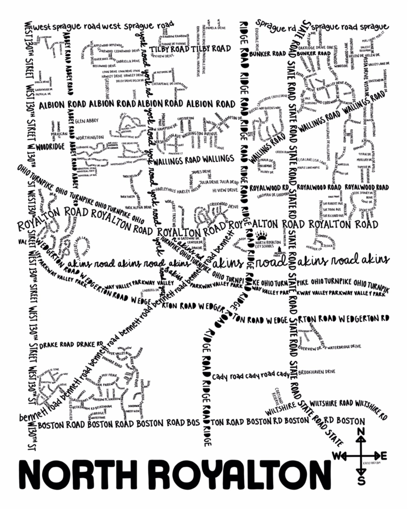 North Royalton Map Print