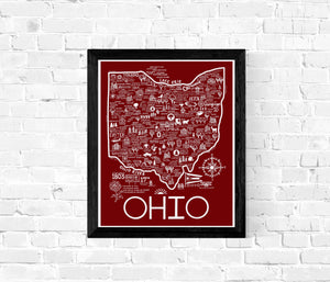 Ohio Map Red