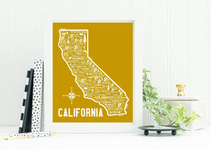 California Map Yellow