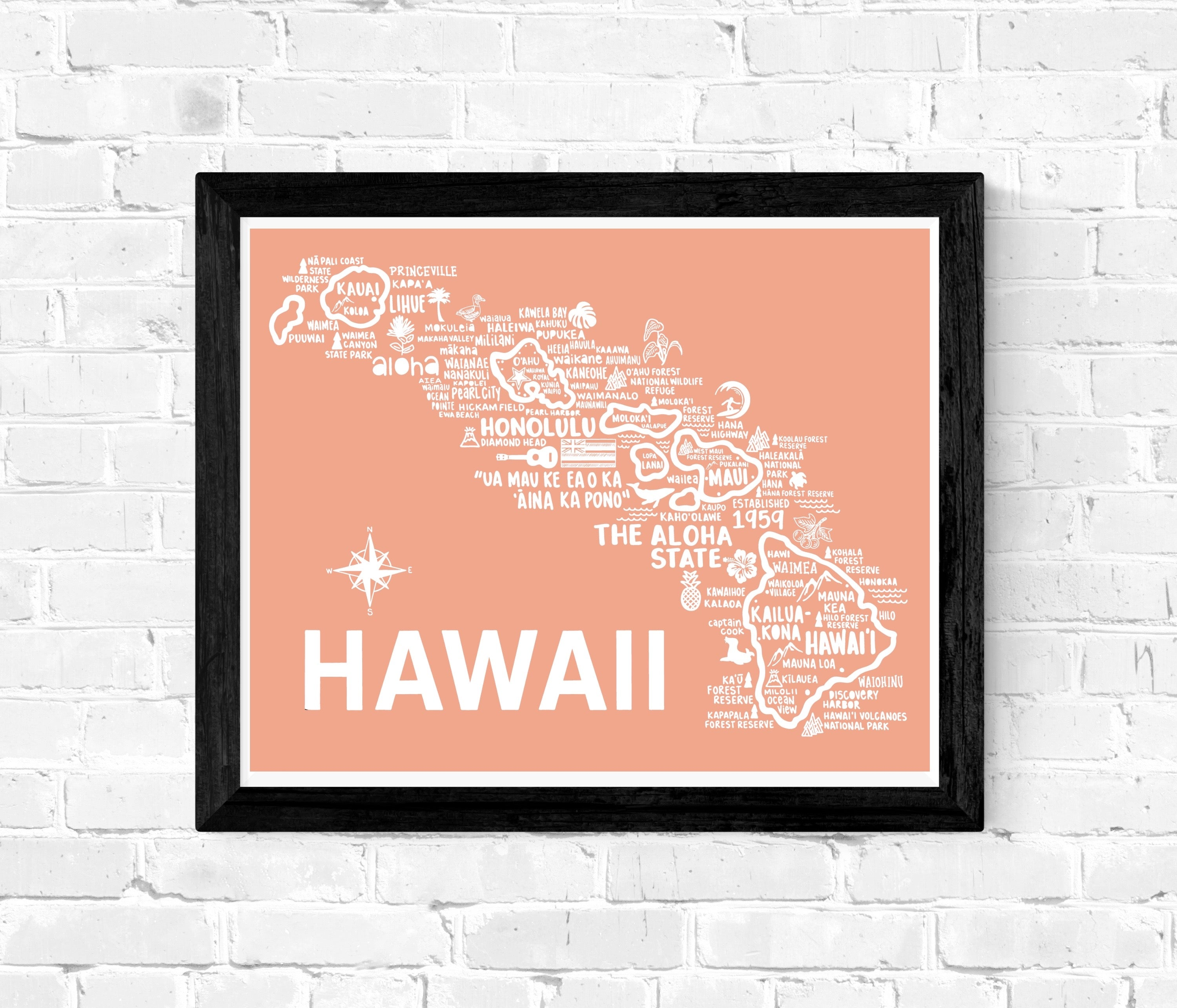 Hawaii Map Coral