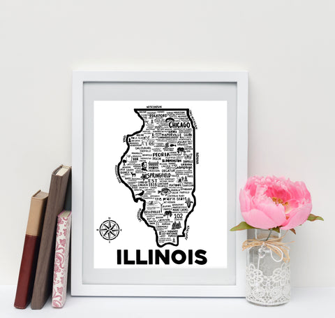 Illinois Map Print White