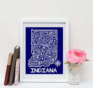 Indiana Map Print Blue