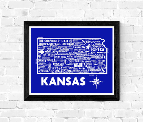 Kansas Map Blue