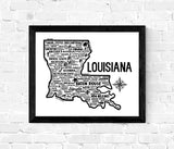 Louisiana Map White