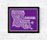 Louisiana Map Purple