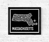 Massachusetts Map Black