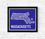 Massachusetts Map Blue