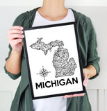 Michigan Map Print White and Black