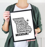 Missouri Map White