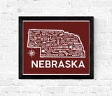 Nebraska Map Red