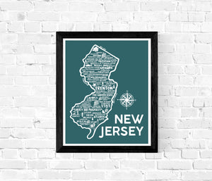 New Jersey Map Teal