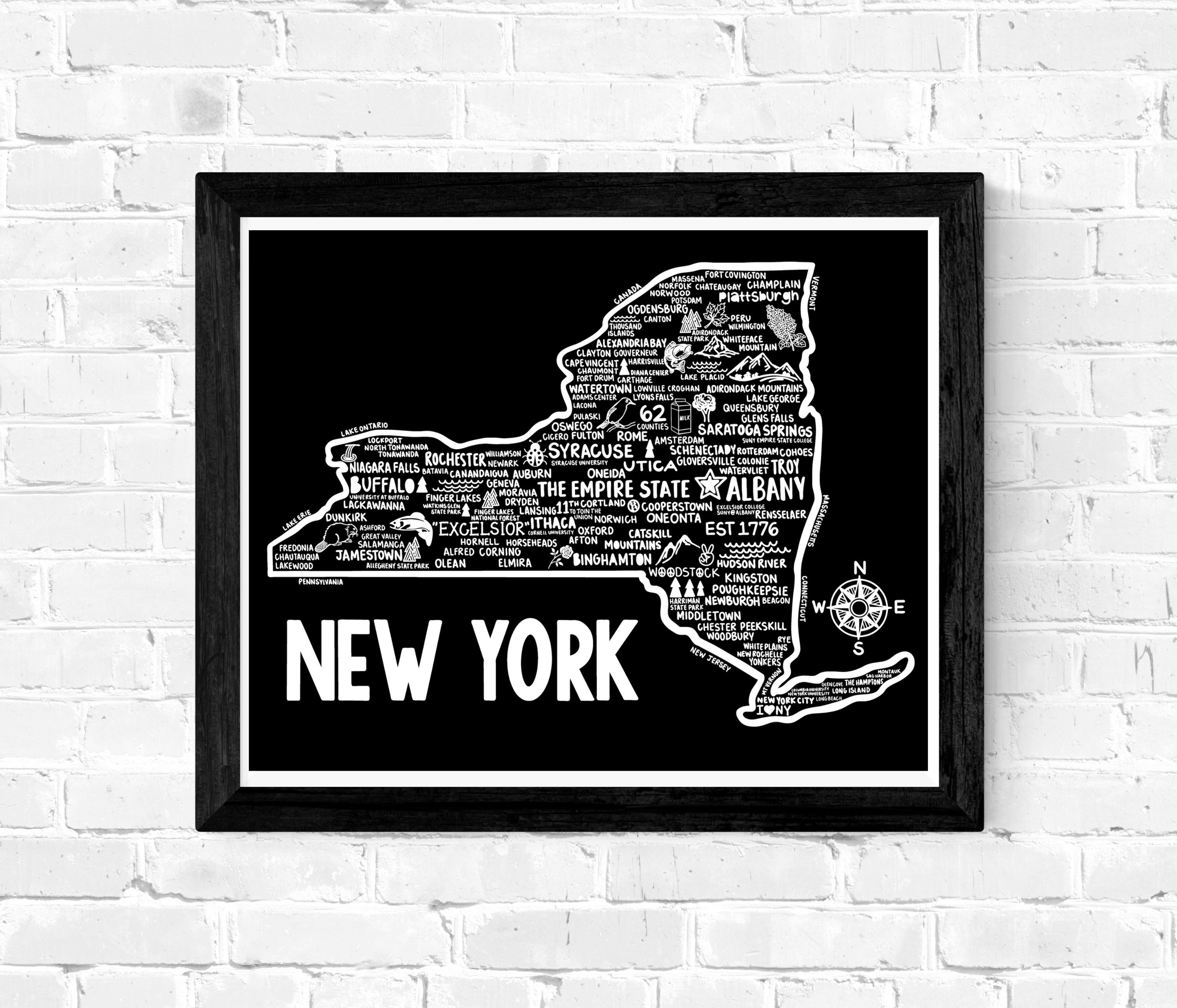 New York Map Black