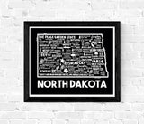 North Dakota Map Black