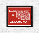 Oklahoma Map Red