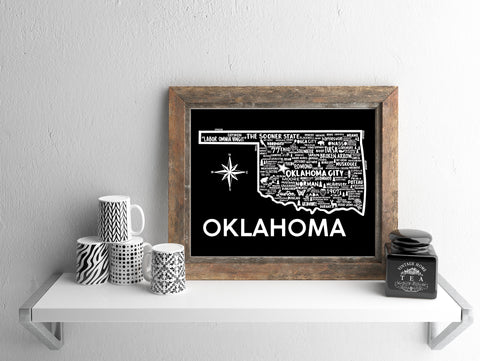 Oklahoma Map Black
