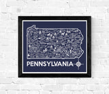 Pennsylvania Map Print Blue and White