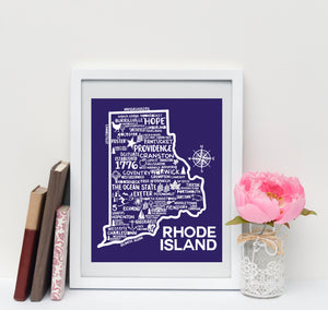 Rhode Island Map Blue