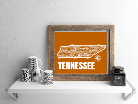 Tennessee Map Orange