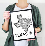 Texas Map Print White
