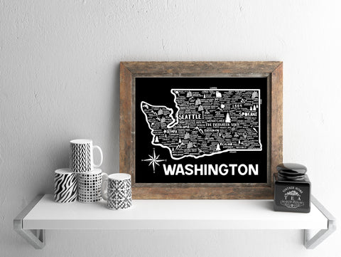 Washington Map Black