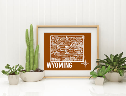 Wyoming Map Brown