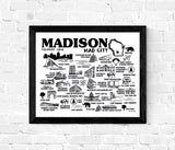 Madison Wisconsin Map Print White