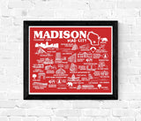 Madison Wisconsin Map Print Red