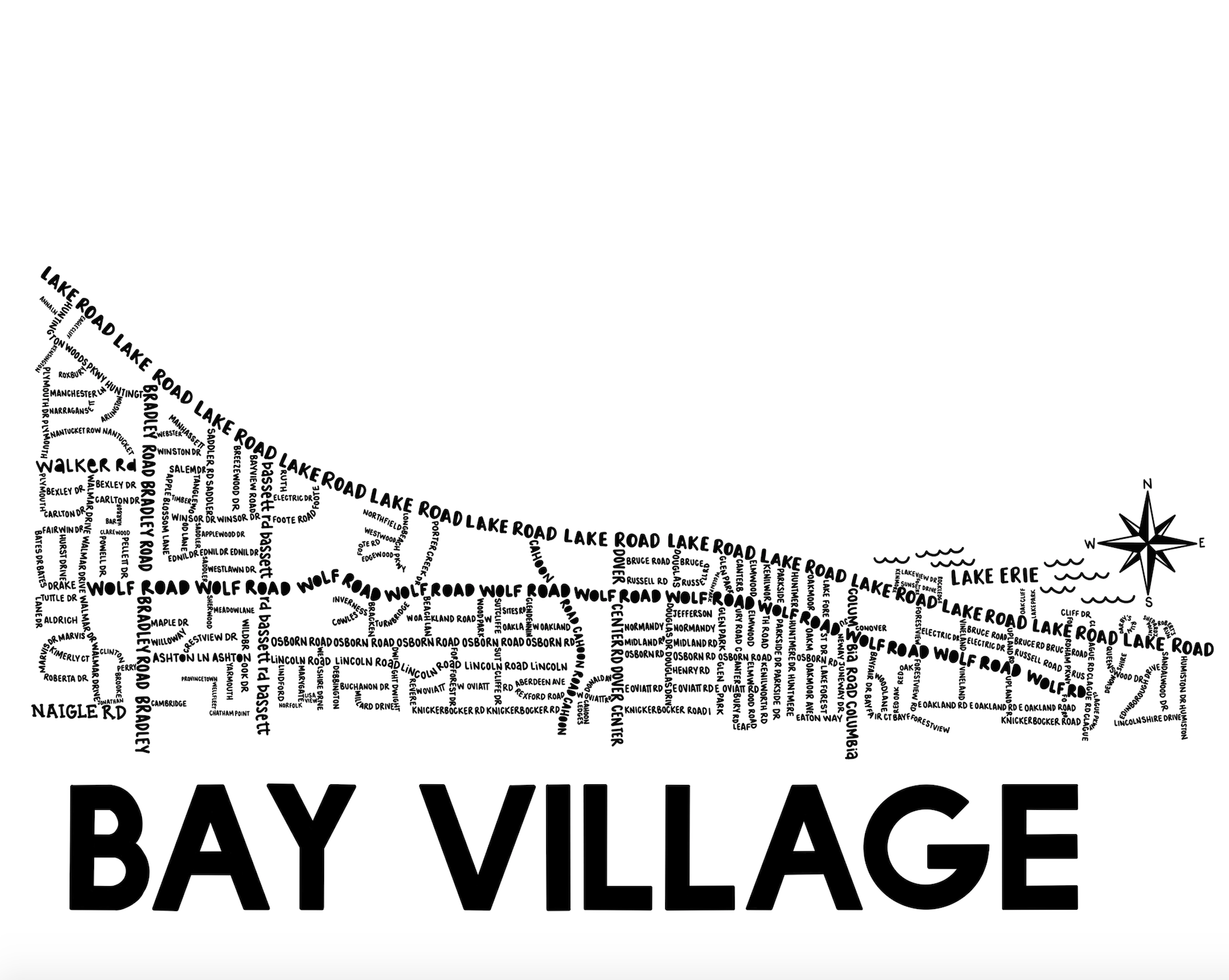 Bay Village Ohio Map Print