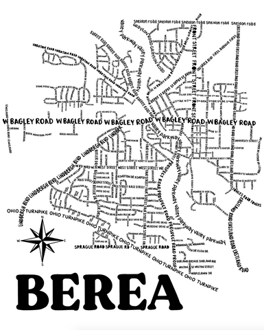 Berea Ohio Map Print
