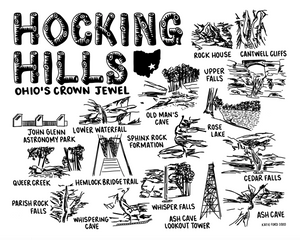 Hocking Hills State Park Map Print White