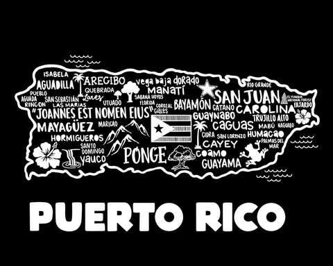 Puerto Rico Map Black
