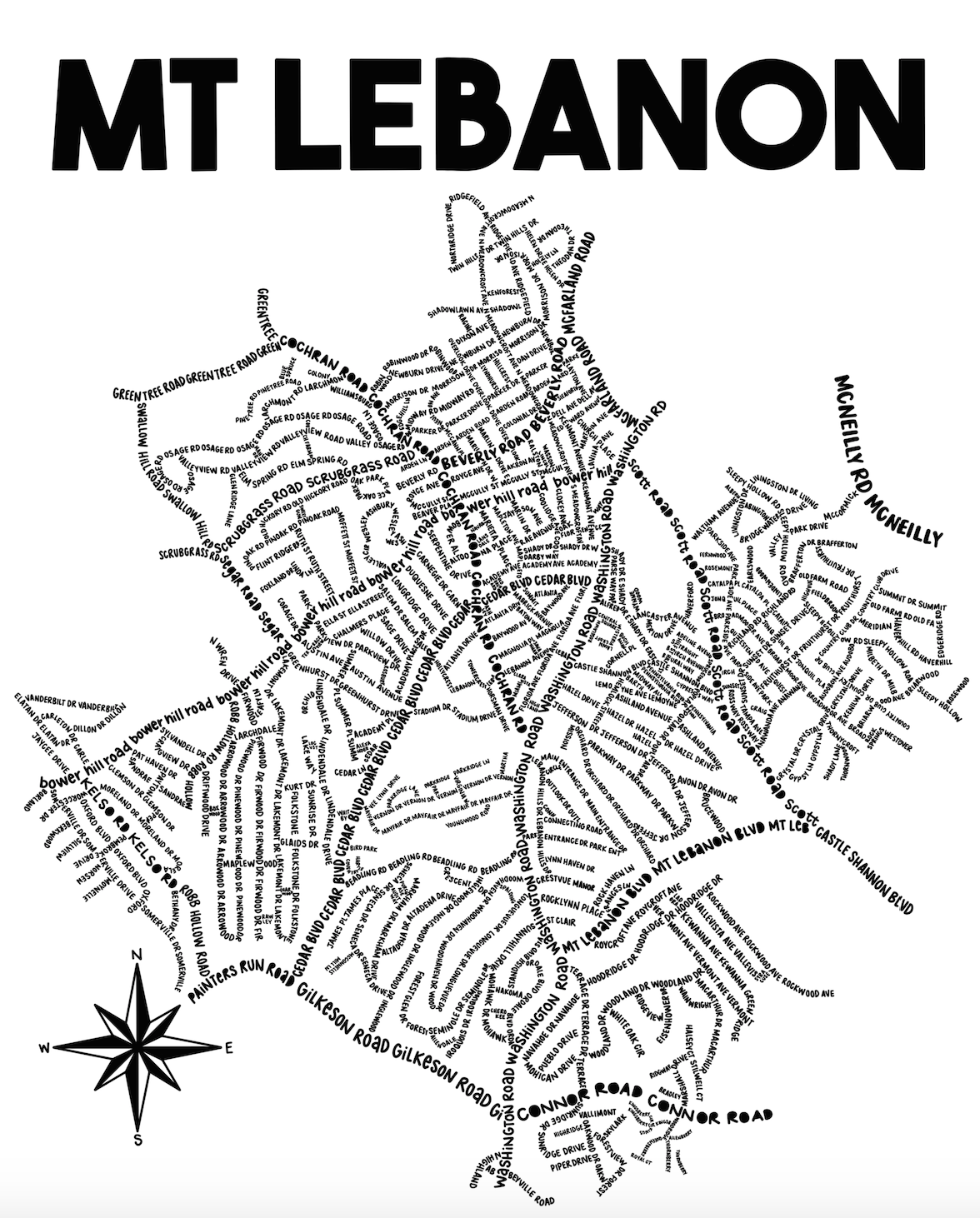 Mt Lebanon Map Print