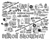 Detroit Shoreway Gordon Square Map Print