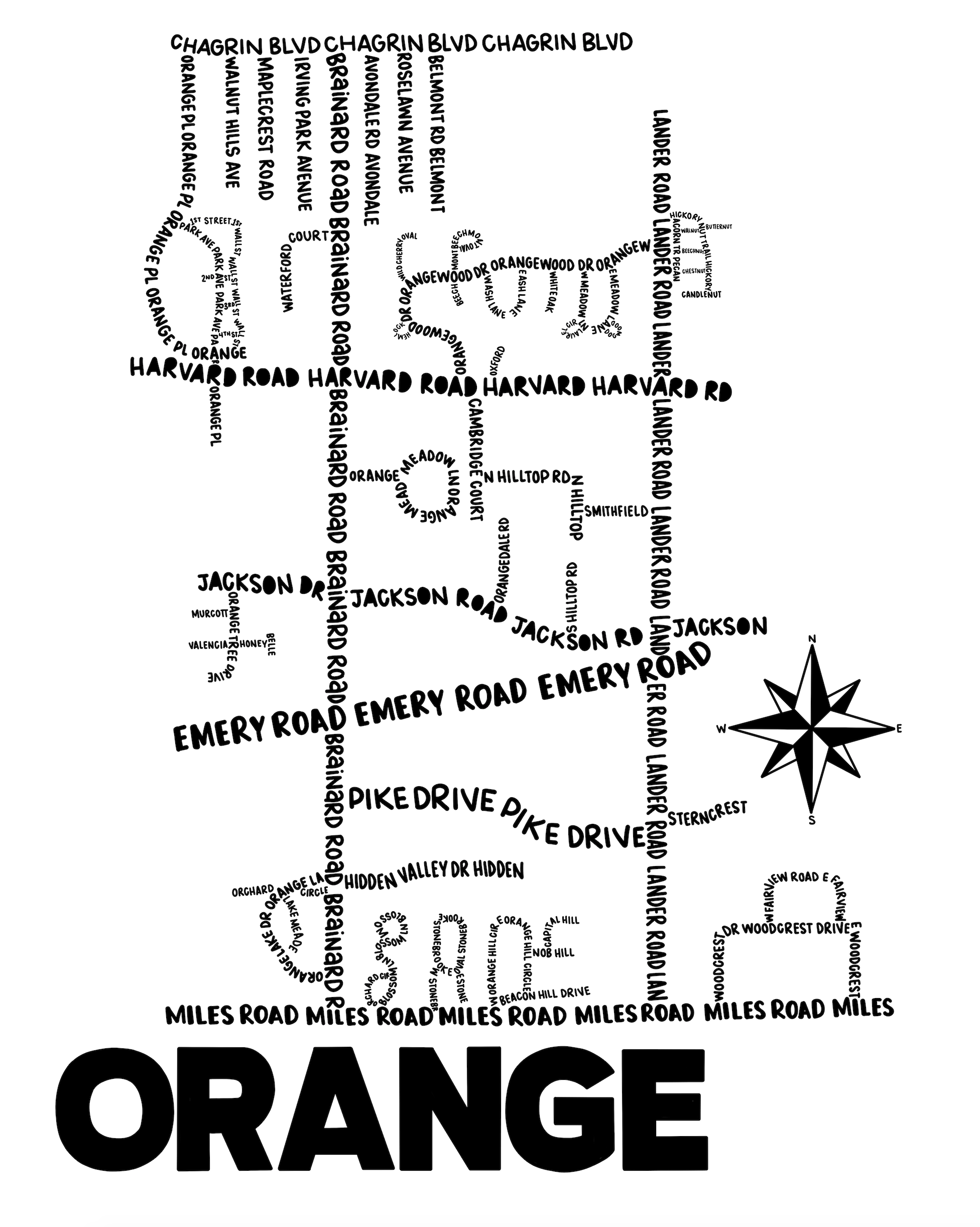 Orange Ohio Map Print