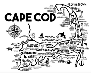 Cape Cod White Map Print