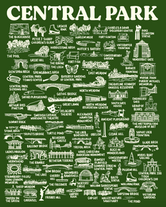 Central Park Map Print Green