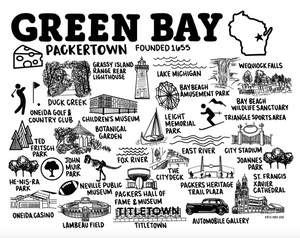 Green Bay Wisconsin Map Print White