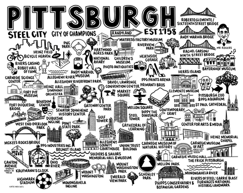 Pittsburgh Map Print White
