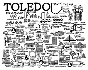 Toledo Ohio Map White