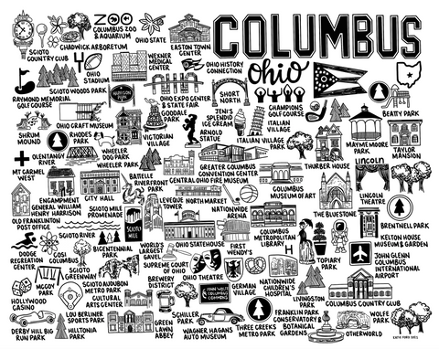 Columbus Ohio Map Print White