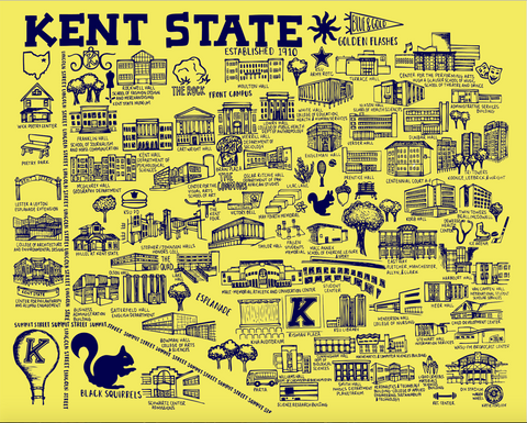 Yellow and Blue Kent State University Map Print