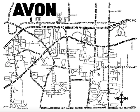 Avon Ohio Map Print