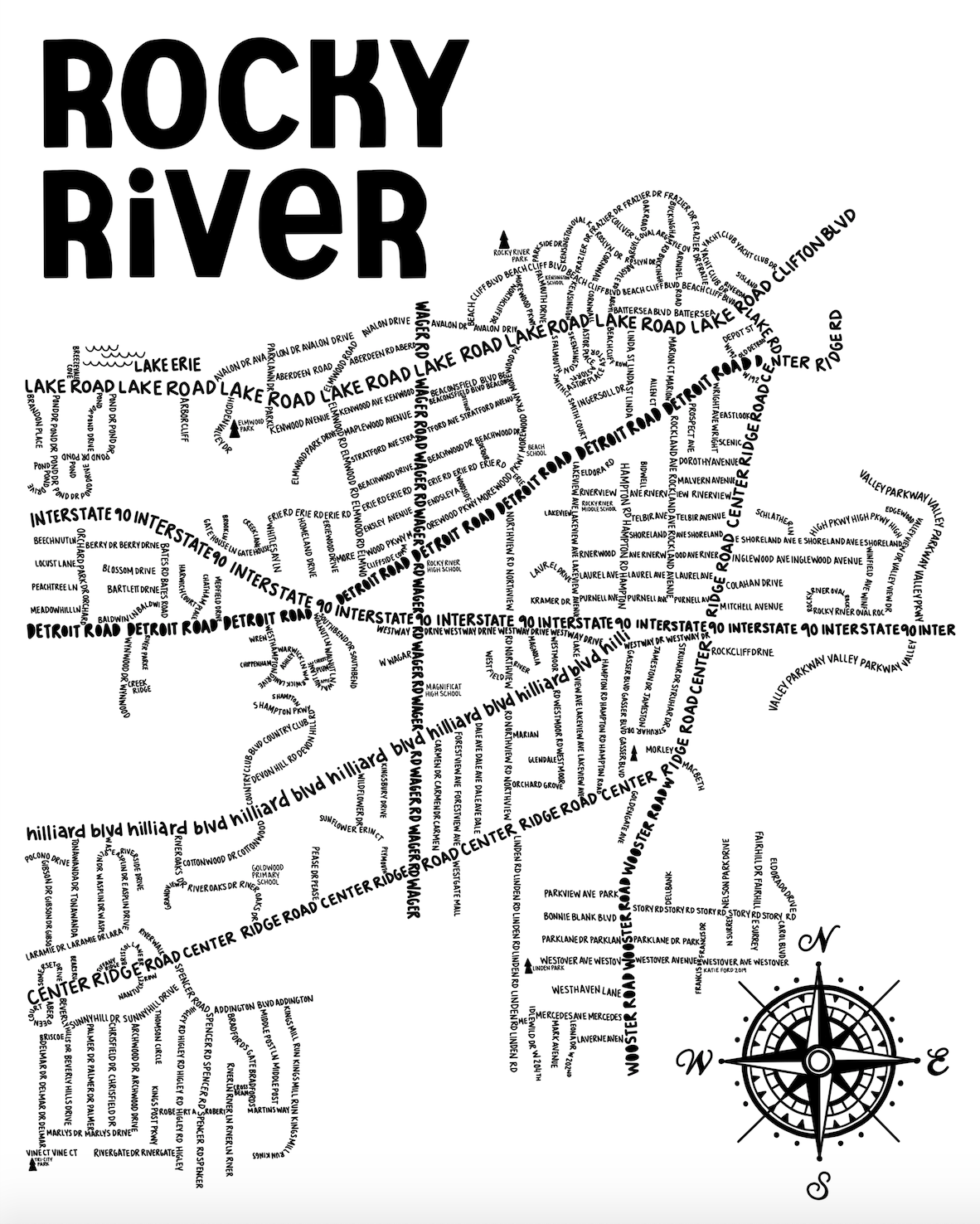 Rocky River Ohio Map Print