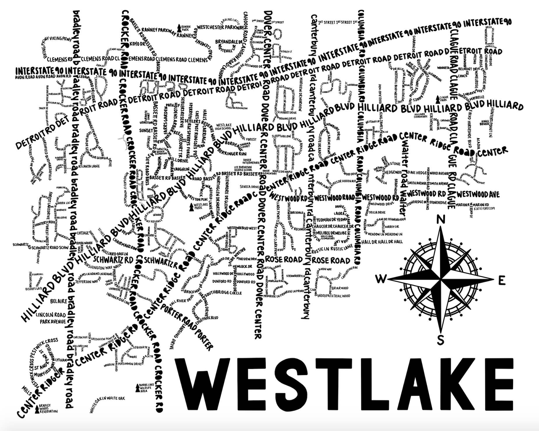 Westlake Ohio Map Print