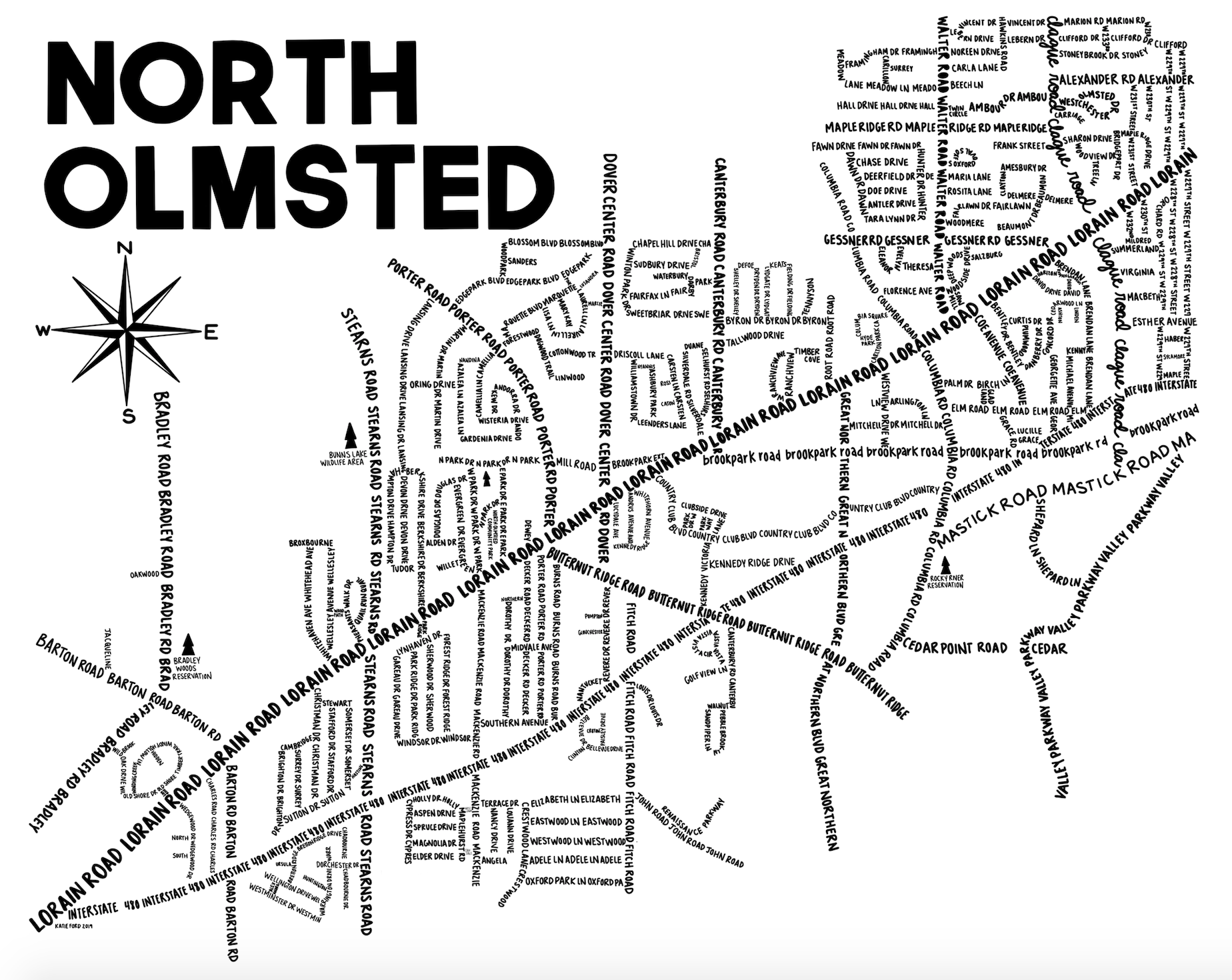 North Olmsted Map Print