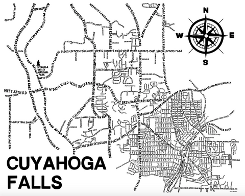 Cuyahoga Falls Ohio Map Print
