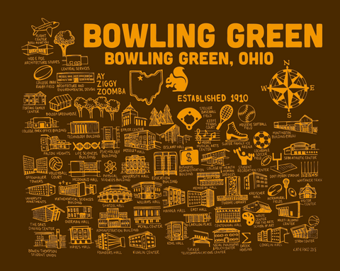 Bowling Green Brown and Orange Map Print