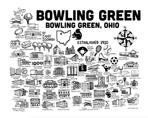 Bowling Green Black and White Map Print