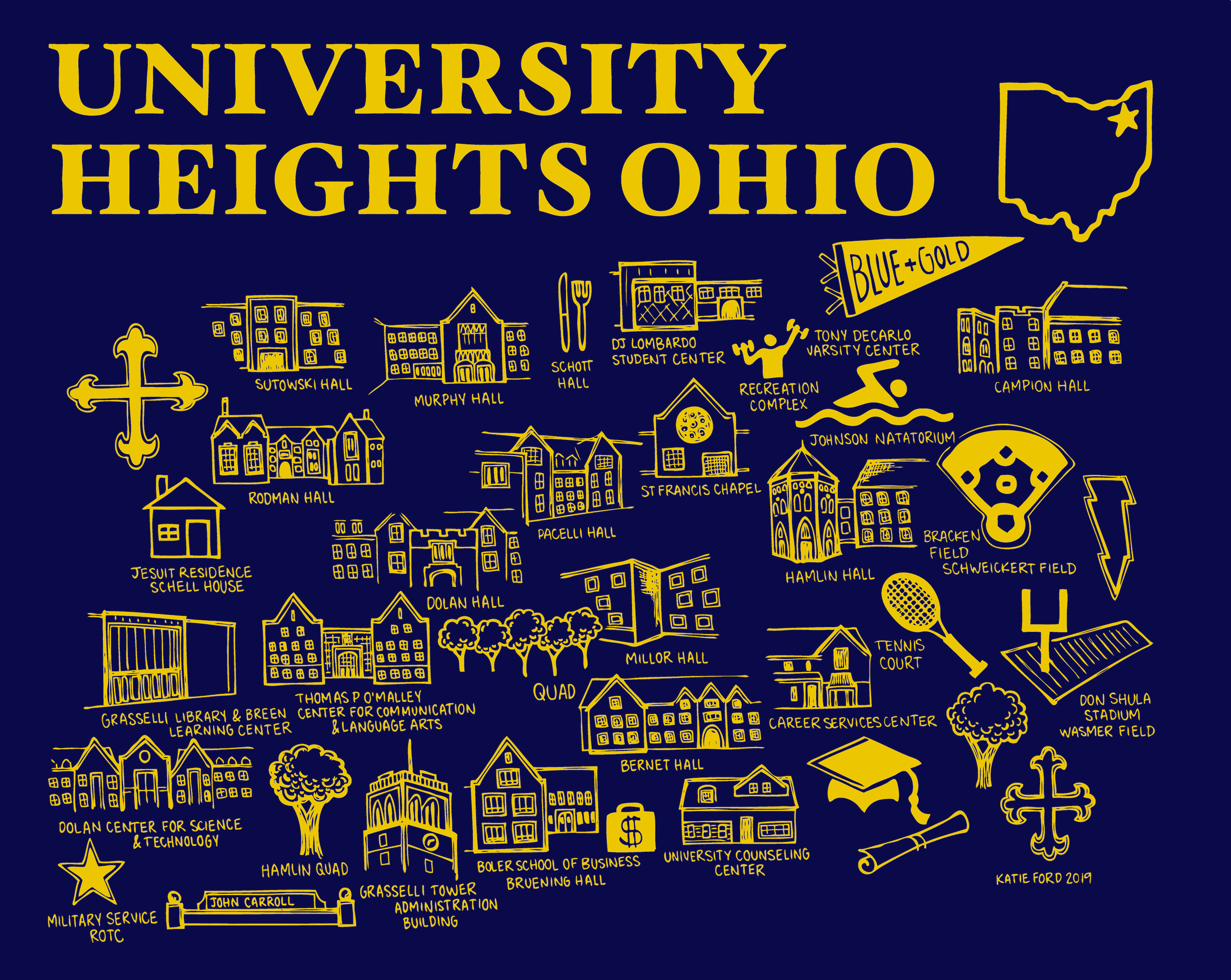 John Carroll Map Blue and Gold